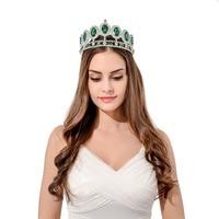 3.4 дюйма блестящие серебристые со стразами свадебная диадема зеленый цвет Павлин Маскарад Костюм украшение для волос Тиара