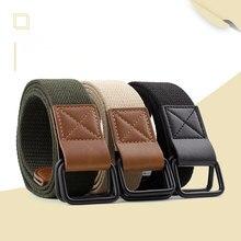 HUOBAO Fashion Black Elastic Tactical Canvas Belt Men Women Stretch Double Buckle Inscription Letter Belts Waist Strap Male