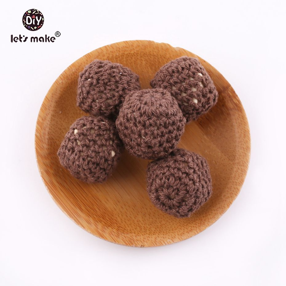 Lets make Brown Color 100% Cotton Yarn Hand Knitted Beading Diy Wooden Ecofriendly BPA Free Baby Teether 10pcs 18mm Teethers