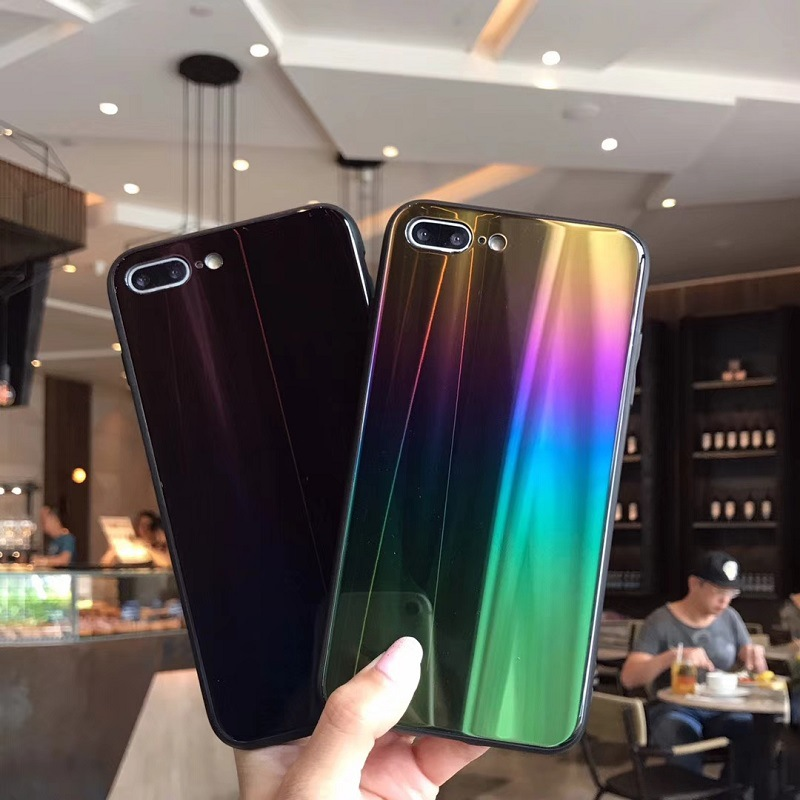 Case For iPhone X 7 8 Plus 6S Cover Laser Aurora Gradient (1)