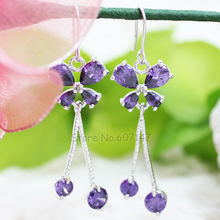 Charming 18K Gold Plated Cubic Zircon Crystal Purple Butterfly Earring For Women Jewelry 2013 E0848