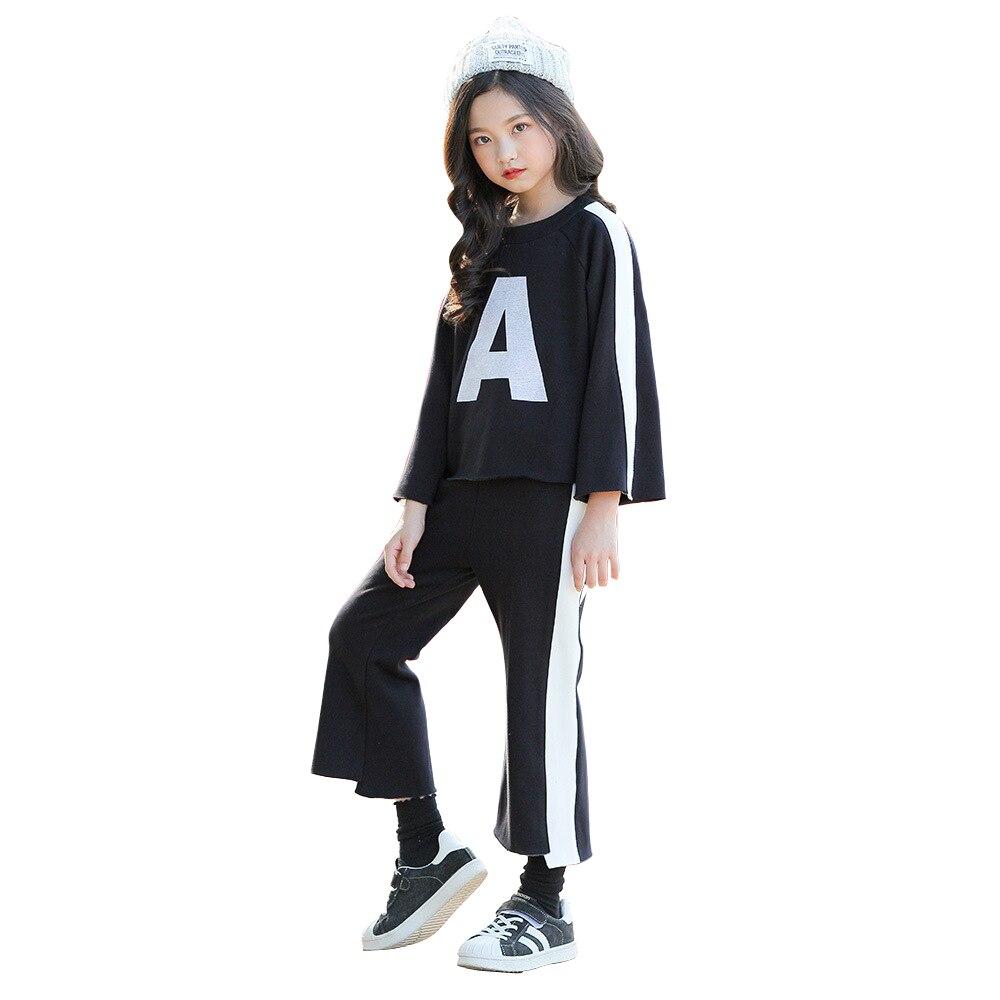 children clothing age for 6-16 yrs teenage girls fashion black knit sets long sleeve t-shirt+pants big girl school style outfits contrast frill trim rib knit t shirt