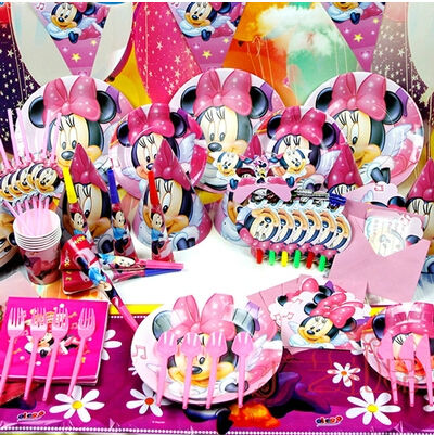 2015 new 84pcs luxury kids birthday party decoration set for Baby minnie mouse party decoration