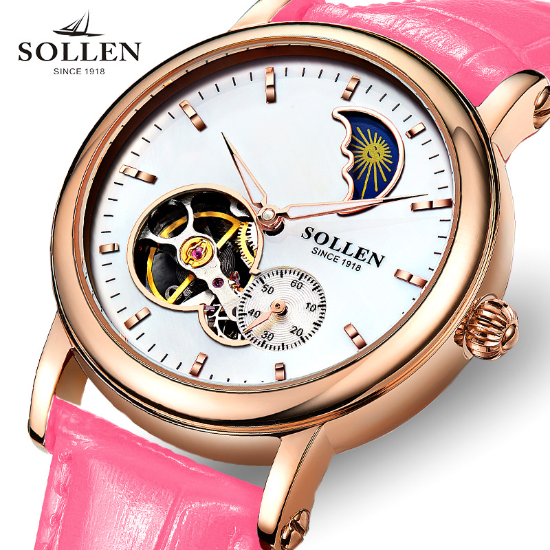 reloj mujer SOLLEN Gold Hollow Automatic Mechanical Watches women Luxury Brand Leather Strap Casual Skeleton Watch Clock фигурка декор 7 3 5 см башмачок со стразами 1132834
