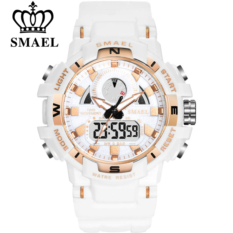 SMAEL Women Watches White Fashion Sport Watch Children's LED Digital Quartz Casual Clock Boy & Girl Dual Display Wristwatch