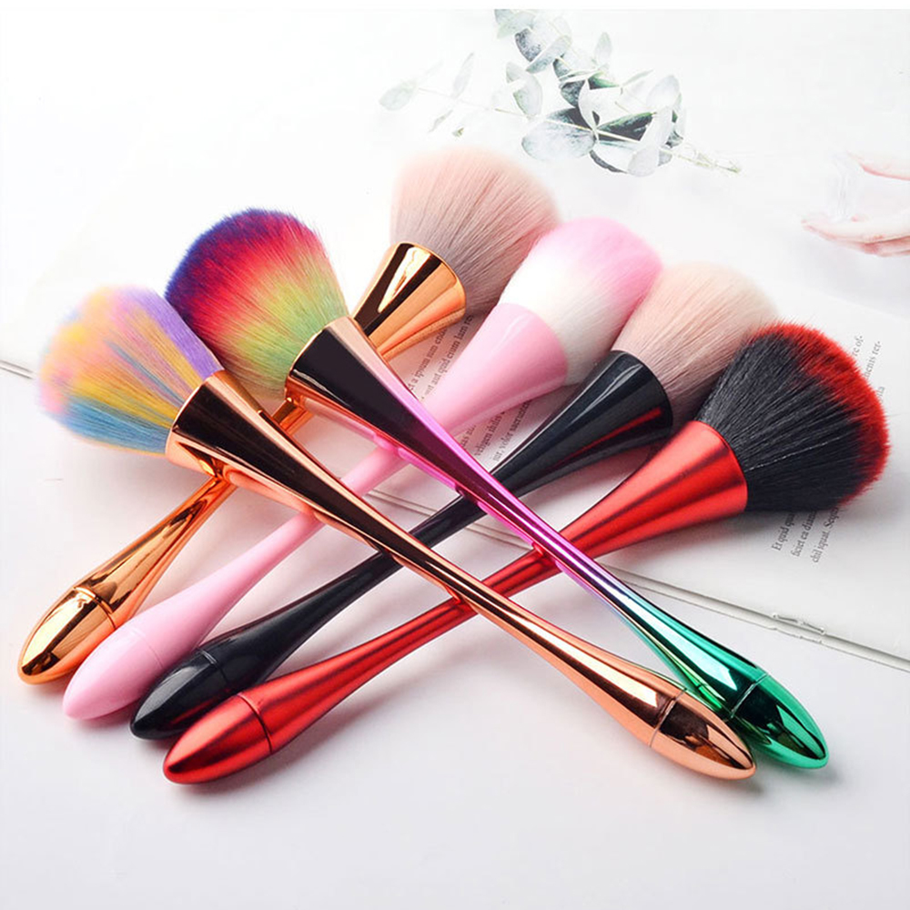 1PC 6Colors Aluminum Handle Clean Nail Soft Brush Dust Cleaner Cleaning Brush Acrylic UV Gel Powder Removal Manicure Tools