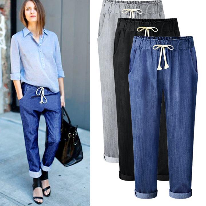 Plus Size M-6XL 2018 Women CASUAL Harem Pants Of Ladies Elasticity WAIST Jeans Loose Women Jeans