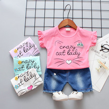 2019 New Kids Suit Summer Casual Baby Girl Short Sleeve Suit Cute Cartoon Cat Round Collar T-shirt + Shorts Suit Children Suit 2016 summer korean children s garment 2 pieces set new pattern girl baby bow leveret t shirt undershirt wave point shorts suit