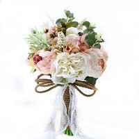 Bride bouquet Artificial silk Flower outdoor wedding decoration ceremony Pink rose peony plant blend binding ceremony