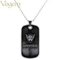 VOGEM Online Game Warface Logo Square Chain Choker Necklace Pendant Men Party Alloy Metal Game Fans