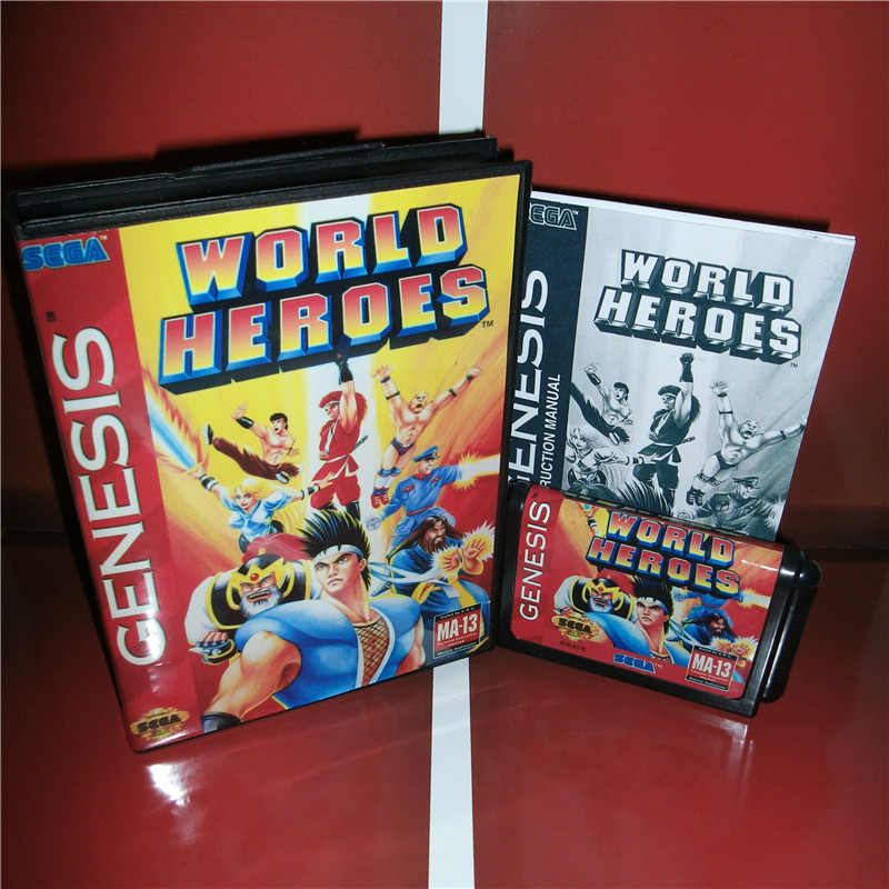 World Heroes US Cover with Box and Manual For Sega Megadrive Genesis Video Game Console 16 bit MD card