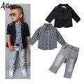 2015 Осень новое прибытие мальчиков одежда наборы дети Мальчики с длинными рукавами куртка + рубашки + брюки джинсовые 3 шт. ребенок случайный набор одежды