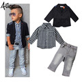 2015 Autumn new arrival boys clothing sets kids Boys long-sleeved jacket+shirts+denim pants 3 pieces child casual clothing set