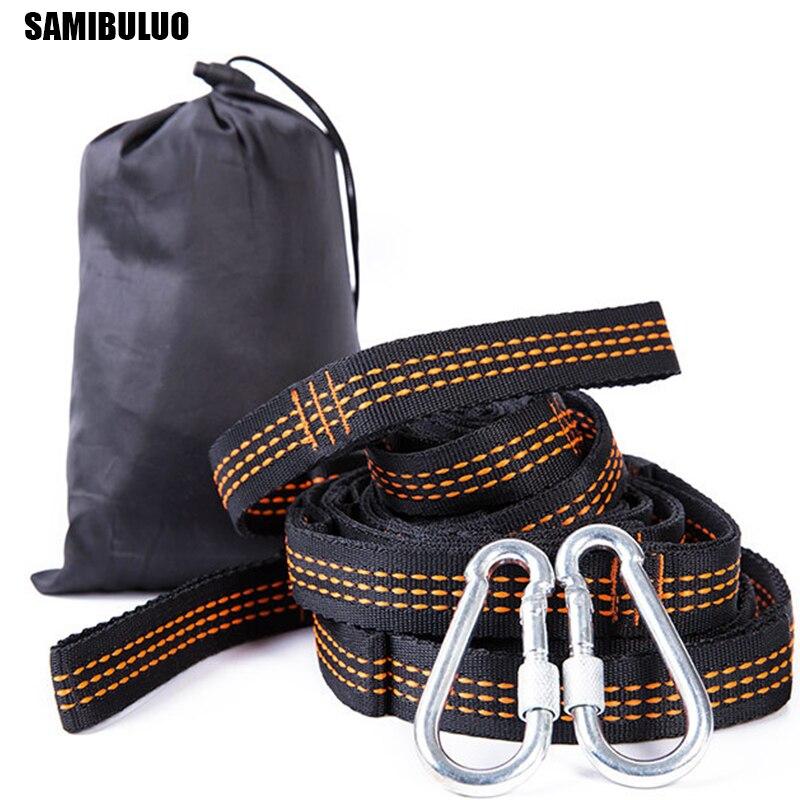 SAMIBULUO Super Strong Bandage Hammock Belts Hanging Tree Outdoor Camping Hiking Tool Hammock Rope 2pcs hooks