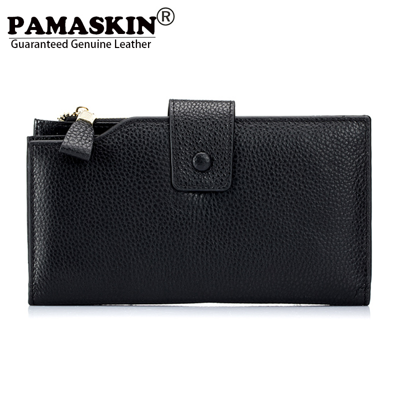 PAMASKIN 2018 Newest Cow Leather Large Capacity Long Women Organizer Wallets Multi-function Business Female Clutches Purses Hot yuanyu 2018 new hot free shipping real thai crocodile women clutches dinner long women wallet large capacity women bag