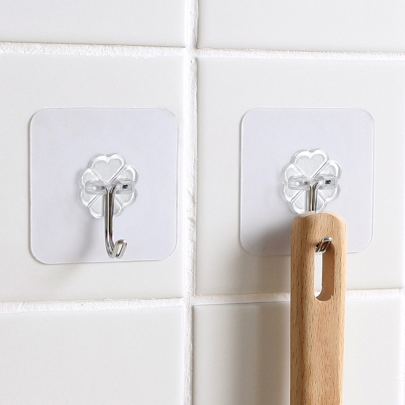 6PCS/Set Hot Wall Storage For Kitchen  Transparent Home Supplies Durable Bathroom Wall Hooks Strong Promotional Hanger