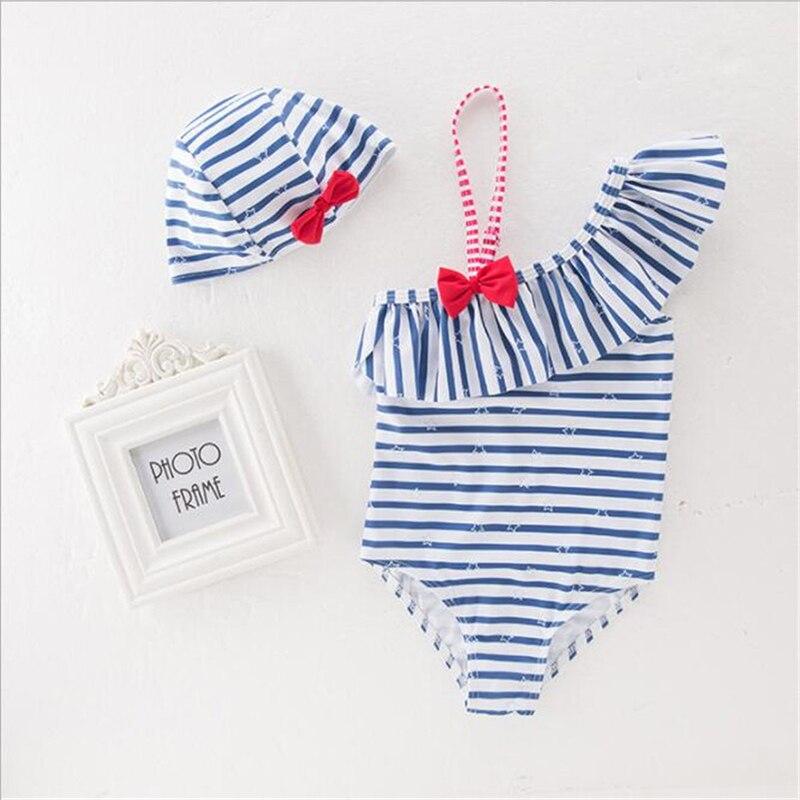 Navy/strand Baby Mädchen Bikini Badeanzüge Kind Bade Set Stripe Halter Strap Bademode Kinder Bikini Infant Schwimmkleidung