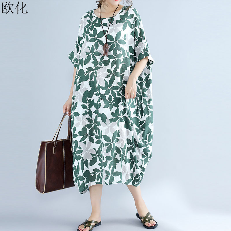 2019 Summer New Women Cotton Plus Size Dress 4XL 5XL 6XL 7XL 8XL Art Printed Floral Vintage Big Swing Dress Loose Linen Dresses(China)