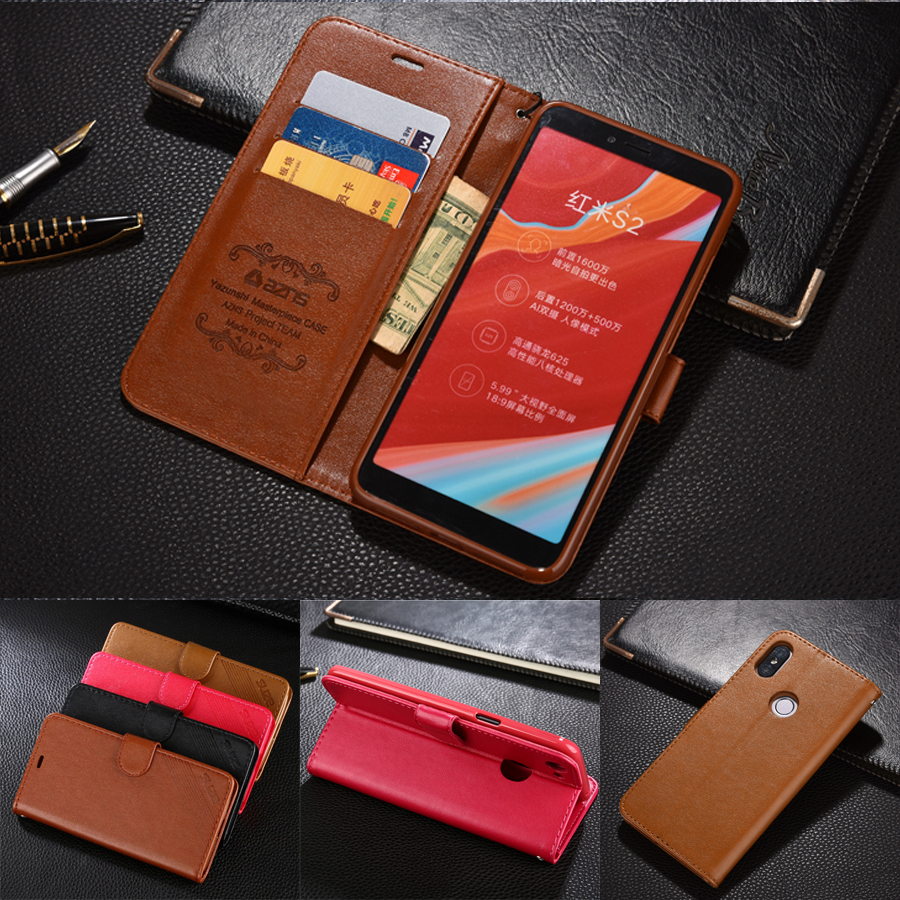 azns Case For Xiaomi Redmi S2 Luxury Wallet Leather Case Stand Flip Card Hold Phone Cover Bags For Xiaomi Redmi S2 Leather Case
