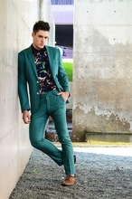 Green Slim Fit Street Tailored Business Men Suit 2 Pieces Tuxedos Blazer Prom Homecoming With Pants Terno Masculino