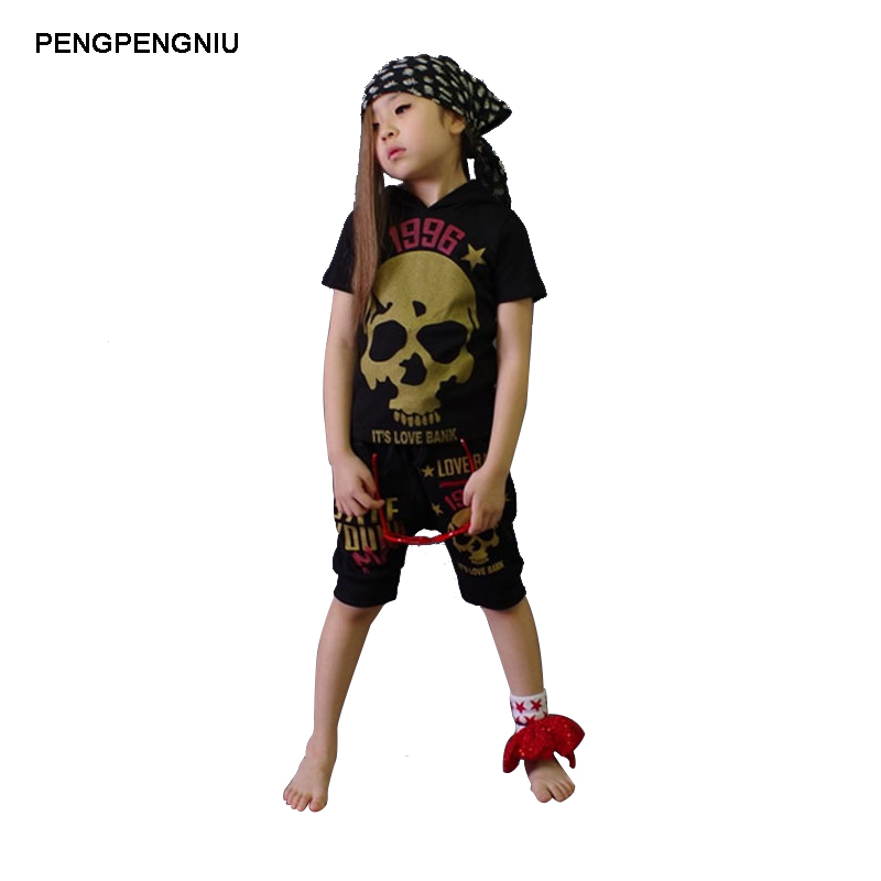 все цены на PENGPENGNIU Street Dance Costumes for Boys Girls Summer 2018 New Short Sleeve Skull Hoodie Set Size 5 to 14 Years Kids Clothes