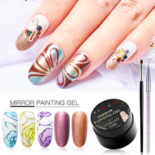 T-TIAO CLUB Mirror Magic Gel Nail Polish Set Chrome Silver Spider Varnish Lacquer With Art Brush Metal Effect