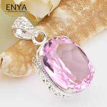 ENYA Honey Pink Synthetic Crystal Silver Plated Necklace Pendants For Nice Women Wedding Party Jewelry P0117