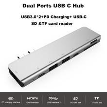 Dual Ports USB C HUB To HDMI with USB3.0 TF SD Reader Slot Hub 3.0 PD Thunderbolt 3 Adapter for MacBook Pro/Air 2016 2017 2018 easya wholesale dual ports usb c hub to hdmi 4k thunderbolt 3 adapter for macbook pro 2018 with type c pd tf sd slot hub 3 0