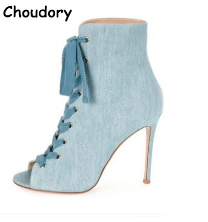 ФОТО Hot Sale 2017 Fashion Blue Denim Lace-up Woman Ankle Boots Peep Toe Woman Gladiator Sandals Boots Thin High Heels Dress Shoes