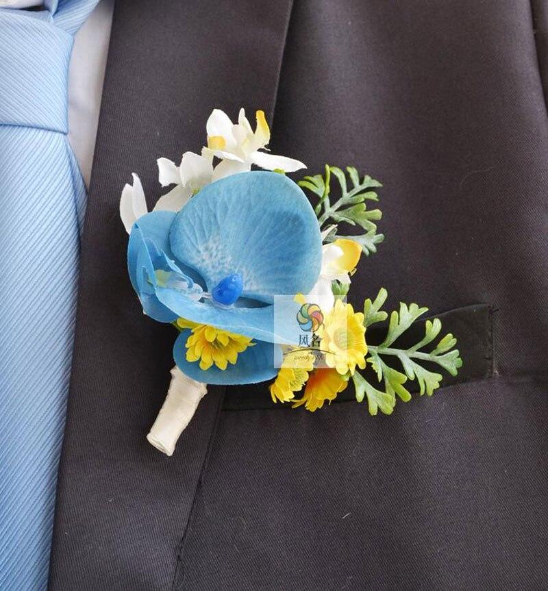 Wedding Flowers Men: 5Pcs/Lot Real Touch Flower Wedding Groom Groomsman