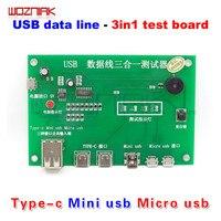 Wozniak pour tpye-c Mini USB micro USB ligne de Données de Test 3 en 1 ligne de Charge carte de test MINI Testeur