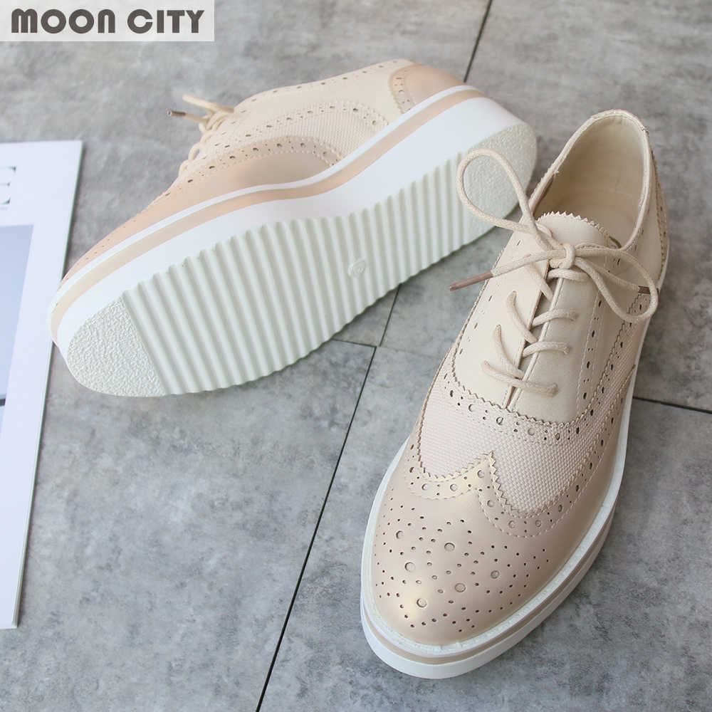 0b9961d733 Plus Size 36-41 Women Flat Hollow Platform Shoes Oxfords British Style  Ladies Creepers Brogue