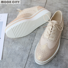 Plus Size 36-41 Women Flat Hollow Platform Shoes Oxfords British Style Ladies Creepers Brogue Shoe For Female Lace Up Footwear