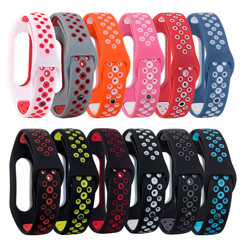 Silicone Double Color Wrist Strap For Xiaomi Mi Band 2 Watch Replacement TPU Breathable Strap For Millet 2 Smart Accessories