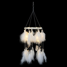 Creative Ins girl heart dream catcher with lamp feather pendant wind chimes valentines day gift