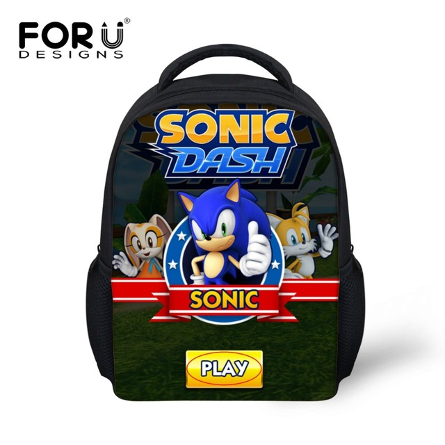 7e18afa15428 US $14.99 25% OFF|FORUDESIGNS Kindergarten Kids Schoolbags Backpack Sonic  the Hedgehog Prints Kids Cute School Bags Baby Boy Children Schoolbag -in  ...