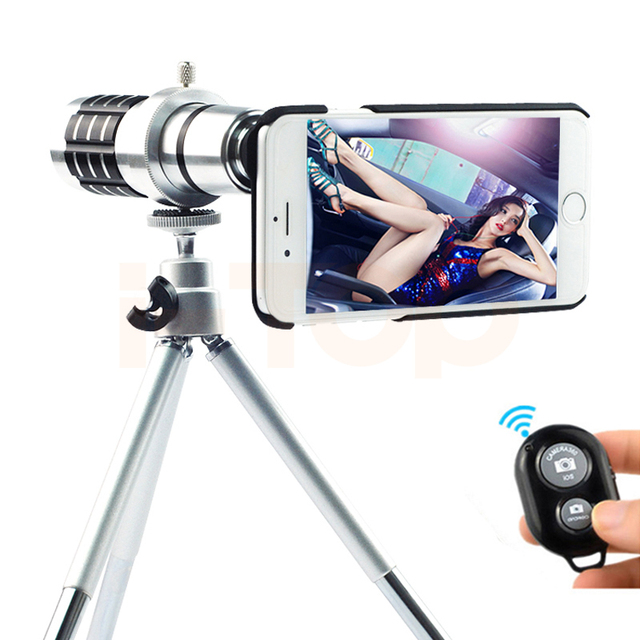 2017 lentes de cámara del teléfono kit 12x zoom telescopio lente telefoto teleobjetivo para iphone 4 4s 5 5S 6 6 s 7 plus samsung note 2 3 4 5 caso trípode