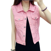 Single Breasted Denim Vest Candy Colored Slim Sleeveless Jeans Jacket Cute Small Short Women Vest Veste