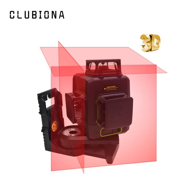 Clubiona 3D 12RC 12 líneas de nivel láser con batería de 5200 mah y Horizontal y Vertical de las líneas de trabajo por separado láser rojo haz las líneas - 3