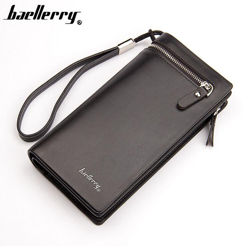 Baellerry brand long designer Men leather wallet with strap large capacity purse for male with phone case clutch money bag designer men wallets famous brand men long wallet clutch male money purses wrist strap wallet big capacity phone bag card holder