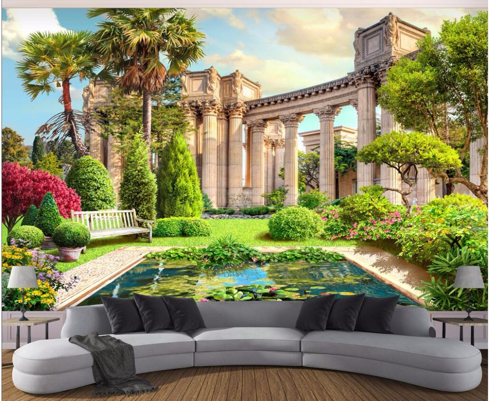 3d room wallpaper custom photo mural roman column garden view background decor painting 3d wall. Black Bedroom Furniture Sets. Home Design Ideas