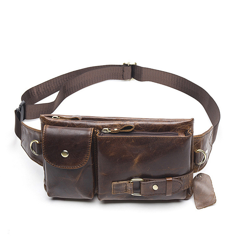 New Men Chest Bag 100 Geguine Leather Men Waist Pack With Quality Cow Leather Men Waist