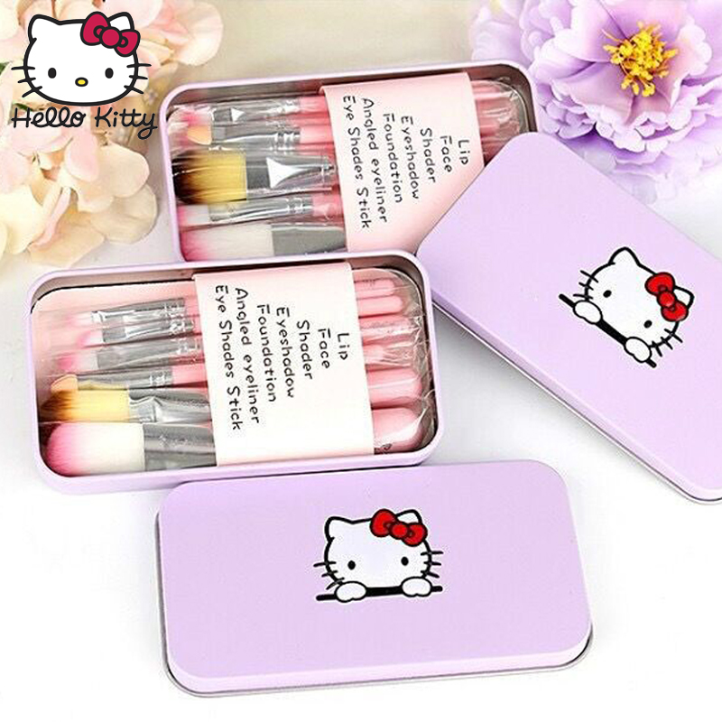 Hello Kitty 7pcs Pink Makeup BB Cream Foundation Cute Face Powder Face EyeShadow Stick Cosmetic Fiber Make Up Toy Beauty Set in Beauty Fashion Toys from Toys Hobbies