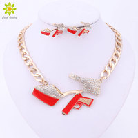 New Sexy Women Jewelry Sets High Heels Gun Pendant Necklace Gold Silver Plated Link Chain Short