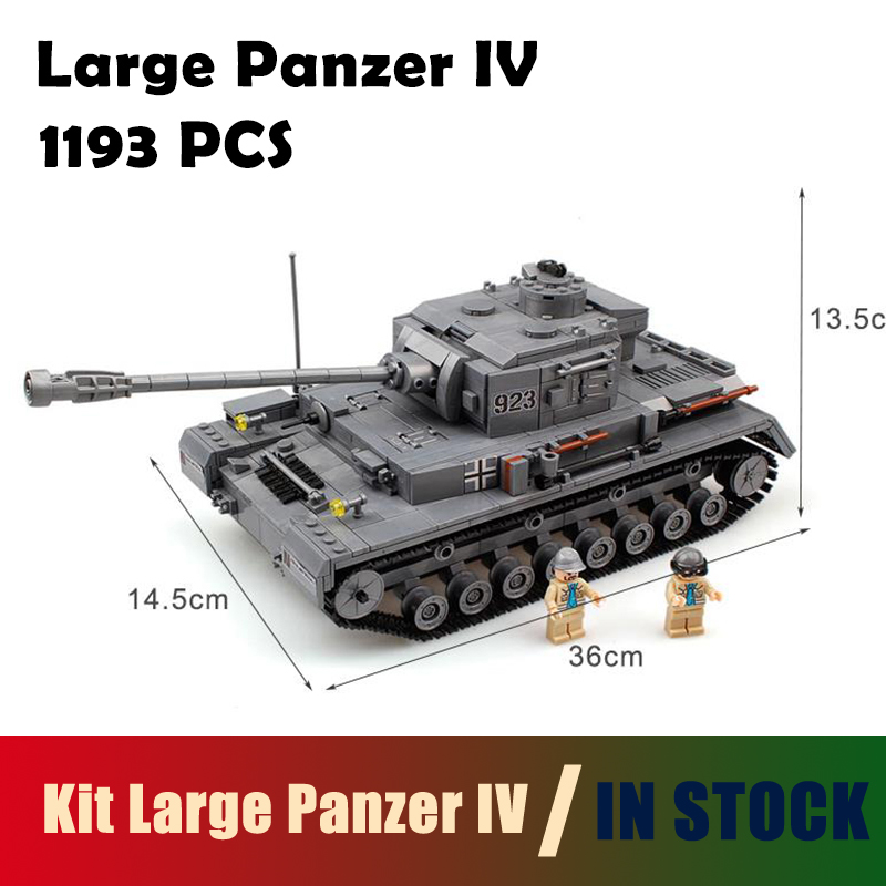 Compatible with lego Model Building Blocks Kit Large Panzer IV F2 Tank 1193pcs Military Army Toy Tank Models & Building Bricks mylb large panzer iv tank 1193pcs building blocks military army constructor set educational toys for children dropshipping