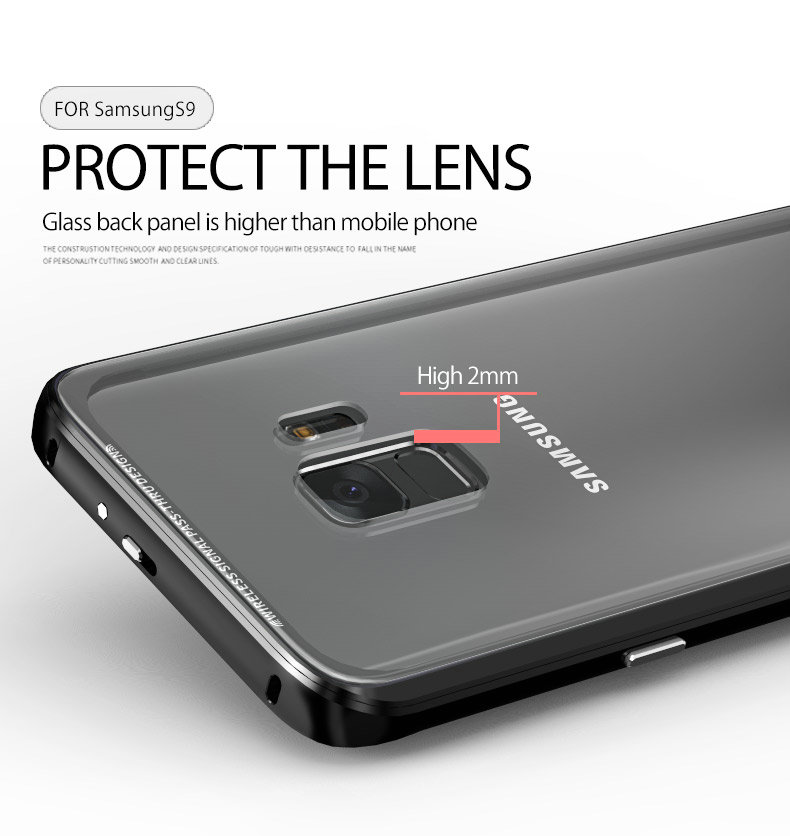 LUPHIE Luxury clear glass cover For Samsung Galaxy S9 S8 Plus Metal Bumper (6)