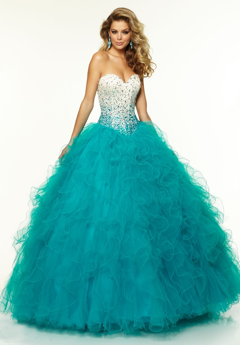 5fa98e08a40 strapless beaded top ruffles skirt puffy turquoise wedding dresseschina  mainland