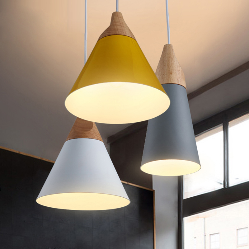 Pendant Lights Dining Room Pendant Lamps Modern Colorful Restaurant Coffee Bedroom Lighting Iron+Solid Wood E27 Holder modern iron 3heads yellow gray blue pendant light study macarons restaurant bar inline chandel lighting pendant lamps za925435