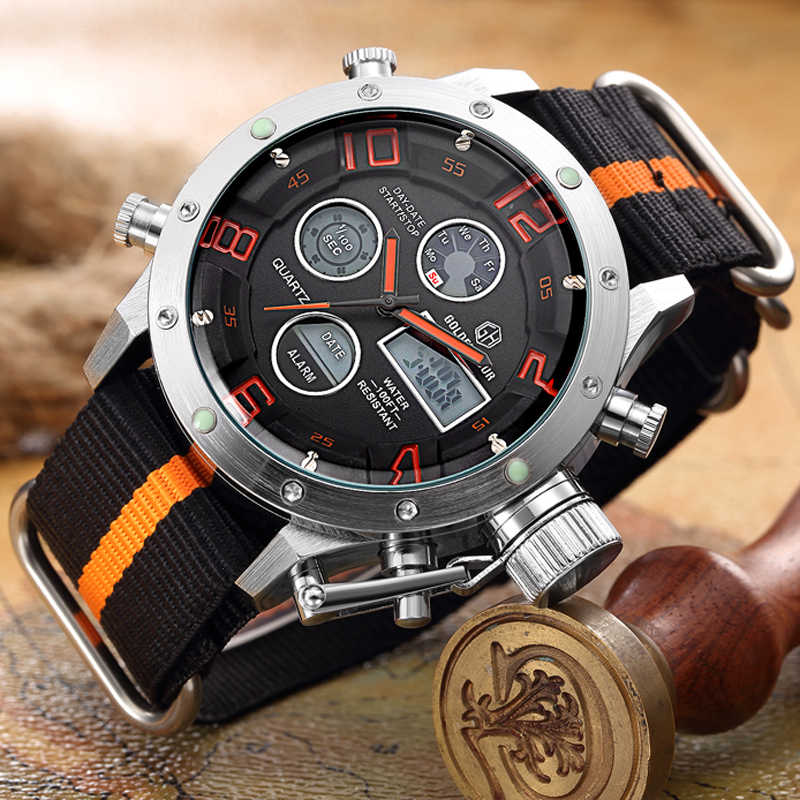 Top Luxury Brand Men's Quartz Analog Digital Watches Men Fashion Casual Sport Led Canvas Casual Clock Military Wristwatches gift