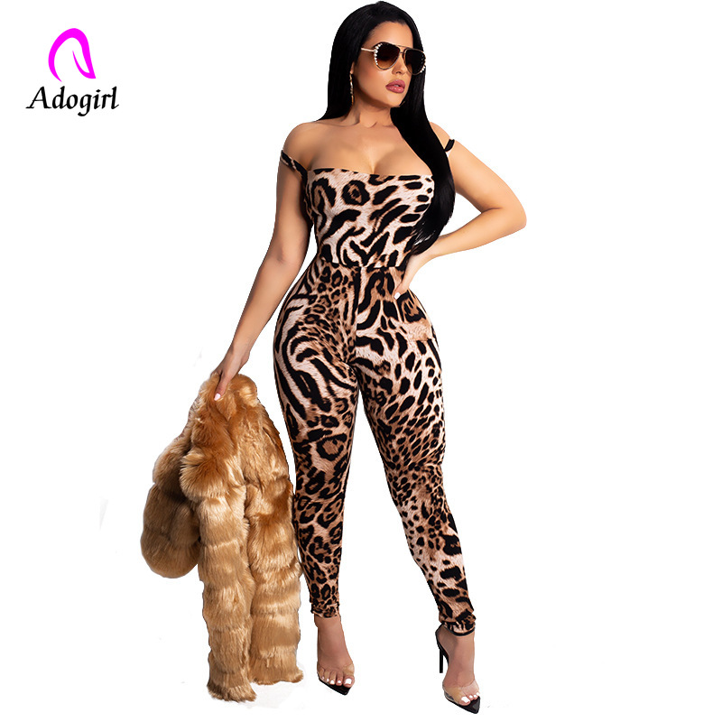 Sexy Leopard Print Off Shoulder Jumpsuit Halter Skinny Long Playsuit Bandage Rompers Party Overalls For Women Combinaison Femme